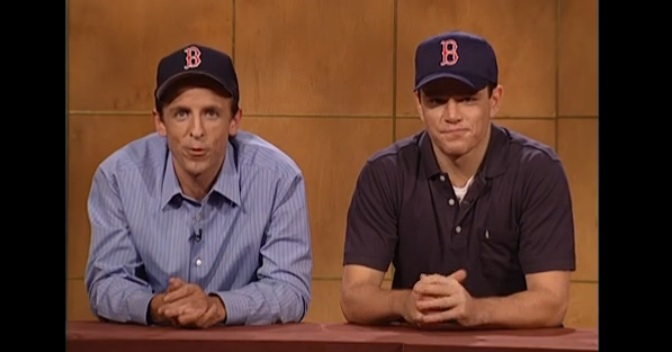 Seth Meyers and Matt Damon remind us Red Sox fans, back from 2002: It's not our fault