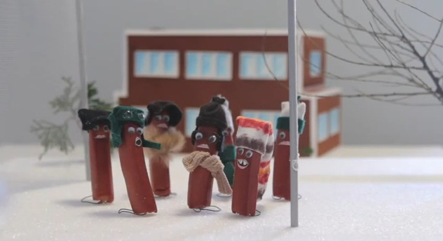 """The icy flagpole scene from """"A Christmas Story,"""" re-enacted by sausages"""