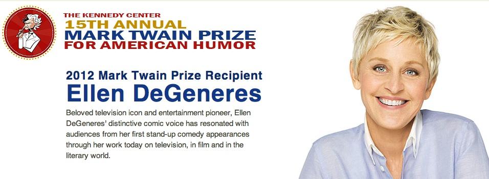Ellen DeGeneres to receive 2012 Mark Twain Prize for American Humor