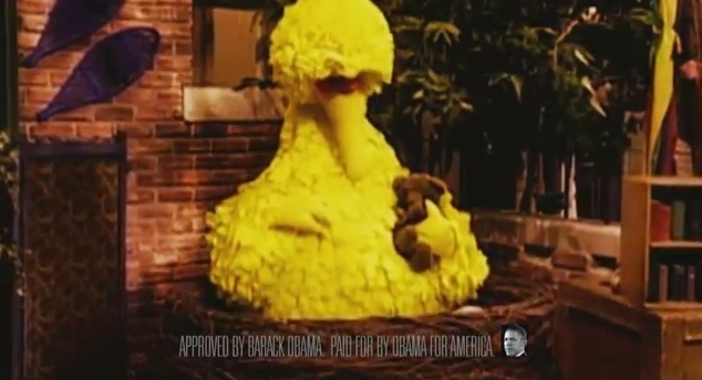 Big Bird appears in official ad for President Barack Obama