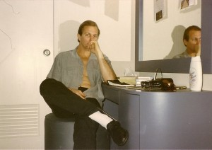 Ritch Shydner in his dressing room backstage at The Tonight Show with Johnny Carson, circa 1985.