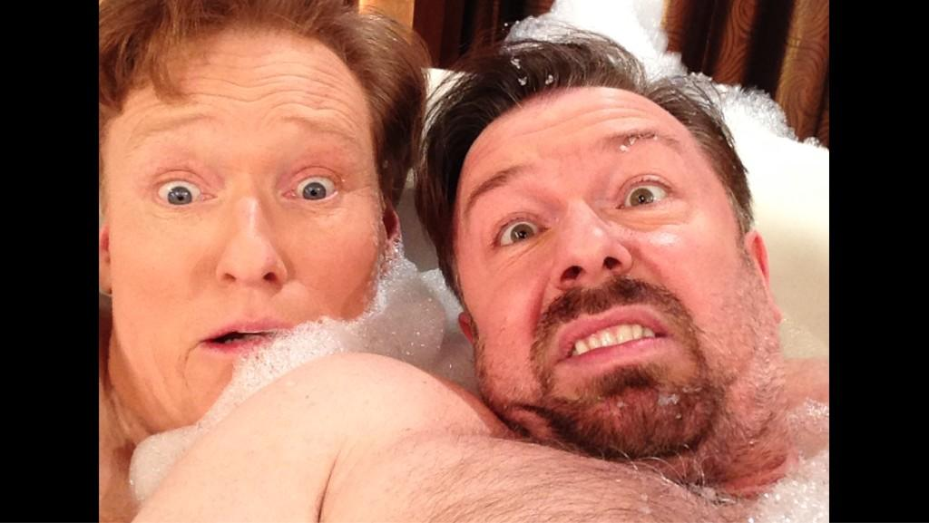 Conan O'Brien and Ricky Gervais strip to their undies on TV for a bubble bath picture
