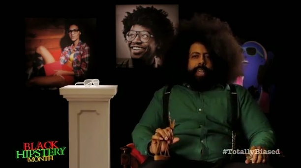 "For ""Totally Biased,"" Reggie Watts presents Great Moments in Black Hisptery"