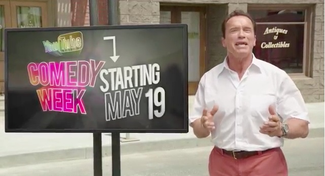 "Arnold Schwarzenegger joins YouTubers to promote YouTube's first-ever ""Comedy Week"""