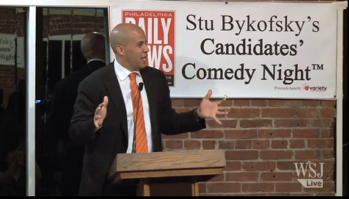 Newark Mayor Cory Booker leaves New Jersey to do stand-up comedy in Philadelphia
