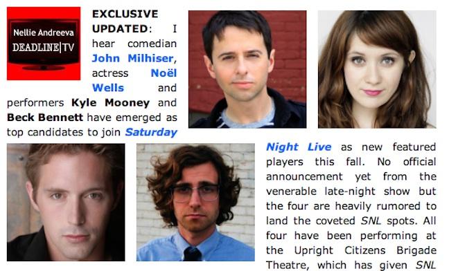 Start the SNL rumor mill! Meet John Milhiser, Noel Wells, Kyle Mooney and Beck Bennett