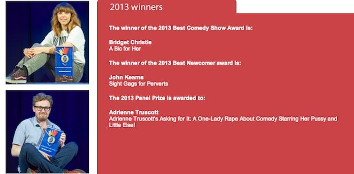 Bridget Christie, John Kearns, Adrienne Truscott win the major awards at 2013 #EdFringe