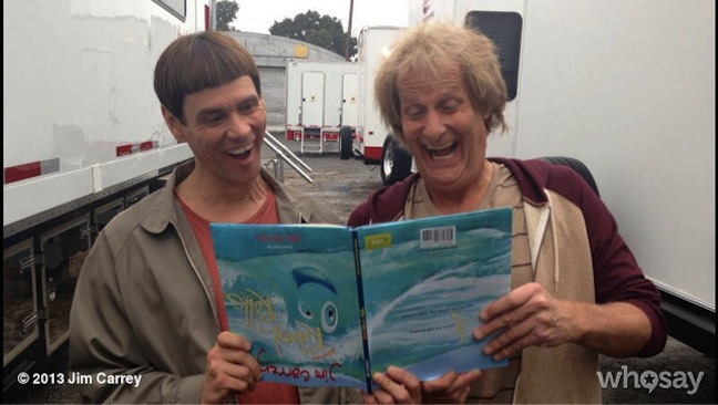 """Jim Carrey promotes his new children's book with first photo of """"Dumb and Dumber To"""" with Jeff Daniels"""