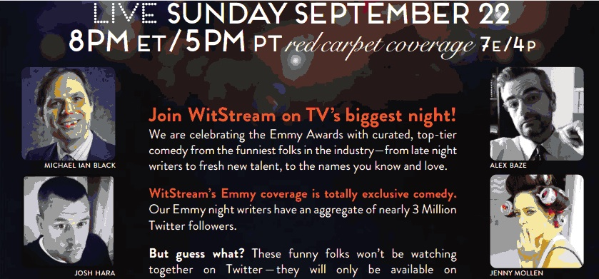 WitStream goes exclusive with live commentary on 2013 Emmys night