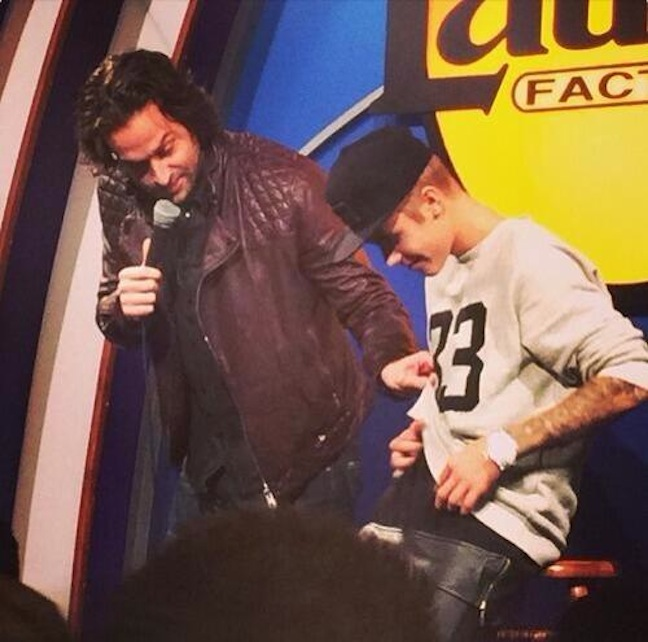 Chris D'Elia made fun of Justin Bieber onstage at The Laugh Factory, and Bieber liked it