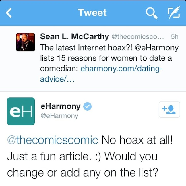 Pro-Tip: Replying to eHarmony's 15 Reasons To Date A Comedian