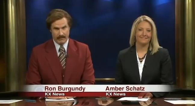 Will Ferrell as Ron Burgundy on the local Saturday night news for KX CBS in North Dakota