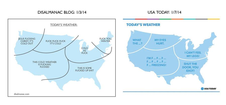 "Scott Bateman's Disalmanac map of frozen America co-opted by USA Today; Bateman to get last laugh: ""Who Wants to be a Millionaire?"""