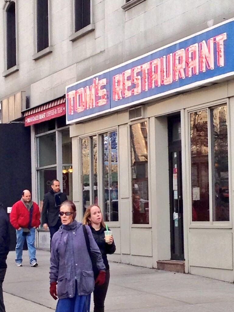 "Jerry Seinfeld and Jason Alexander filmed a new ""Seinfeld"" video today at ""Monk's"""