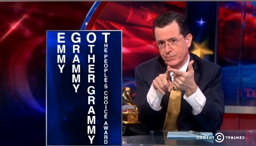 """Stephen Colbert accepts Grammy Award for Best Spoken Word Album on """"The Colbert Report,"""" closes in on """"other"""" EGOT"""