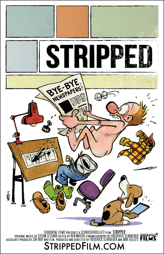 "Bill Watterson draws up his first pubilc cartoon since Calvin and Hobbes: The poster for ""Stripped,"" a new documentary about newspaper comic strips"