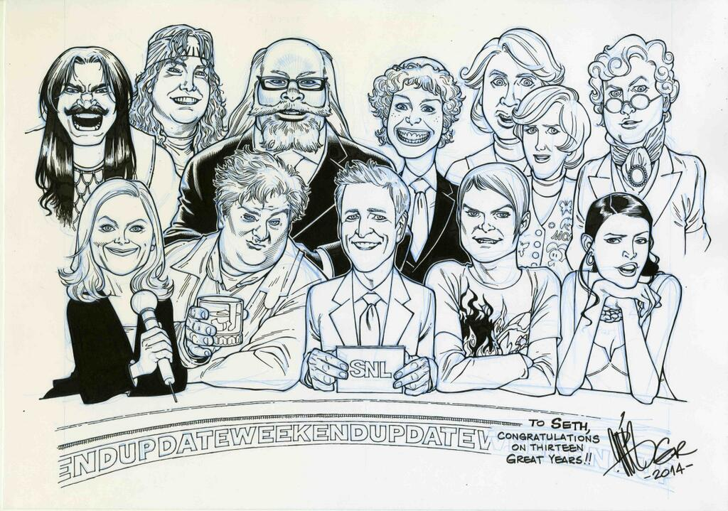 An SNL goodbye present for Seth Meyers: Weekend Update friends of Seth, by Gabriel Rodriguez