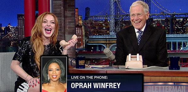 Lindsay, Oprah. Oprah, Lindsay. David Letterman gets Oprah on the phone with Lindsay Lohan