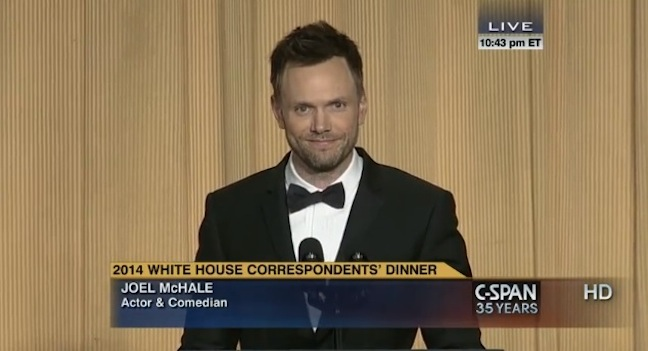 Joel McHale and Barack Obama at the 2014 White House Correspondents Dinner