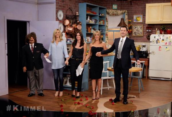 Jimmy Kimmel convenes Friends reunion of Jennifer Aniston, Courteney Cox and Lisa Kudrow; 20th anniversary of sitcom also plans real-life Central Perk