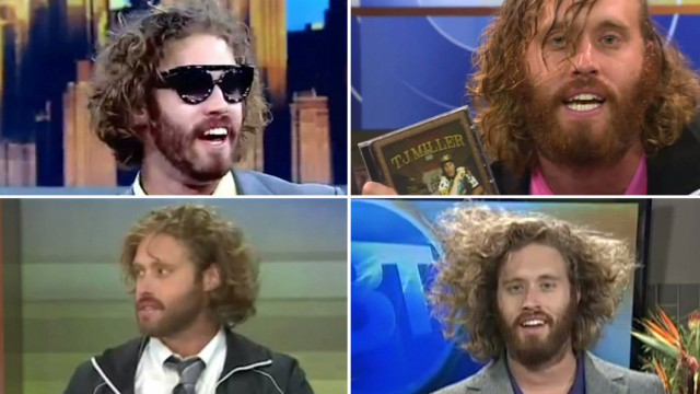 The performance art of TJ Miller's morning TV news appearances