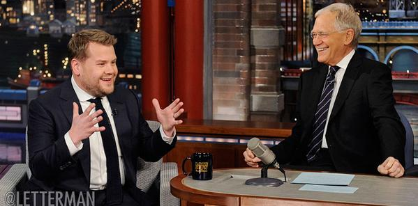 James Corden makes first appearance on Late Show with David Letterman to talk Late Late Show