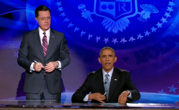 "President Barack Obama takes over The Colbert Report to deliver ""The Word"" as ""The Decree"""