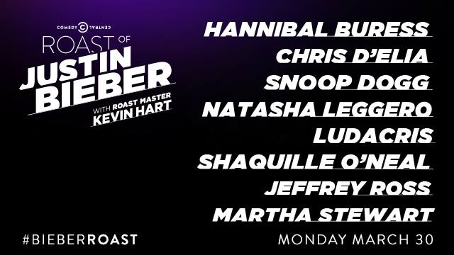 Comedy Central's #BieberRoast dais includes Hannibal Buress, Snoop Dogg and Shaq