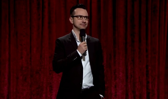 """Josh Robert Thompson, aka the voice of robot skeleton """"Geoff Peterson,"""" performing stand-up on The Late Late Show"""