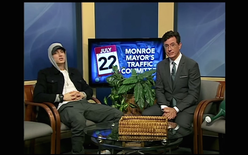 """Only In Monroe,"" Stephen Colbert takes over Michigan public-access cable TV show for night"