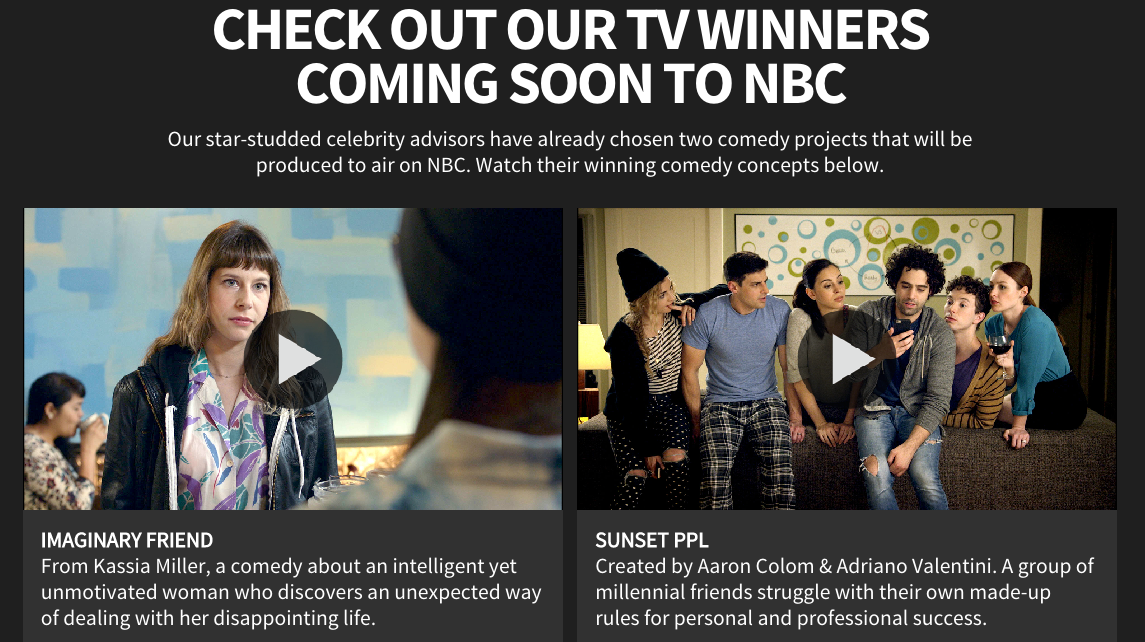 "NBC Playground announces first two comedy pilot winners: ""Imaginary Friend"" and ""Sunset PPL"""