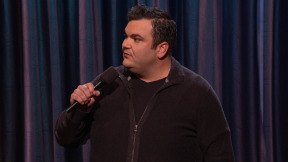 Ian Karmel with Ron Funches on Conan, just like they'd dreamed