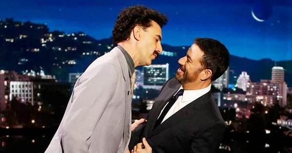 "Sacha Baron Cohen brings back Borat to promote new Sacha Baron Cohen movie, ""The Brothers Grimsby,"" on Jimmy Kimmel Live"
