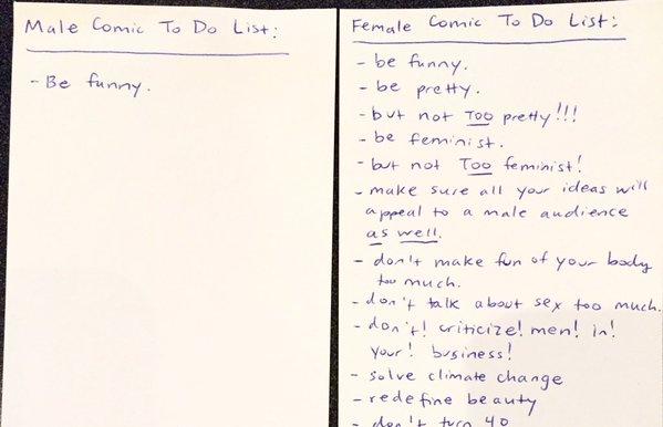 Comedian To Do List: Men vs. Women, by Sara Schaefer