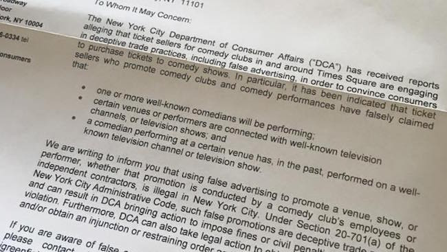 NYC mails letter to comedy clubs to crack down on fraudulent Times Square ticket barkers