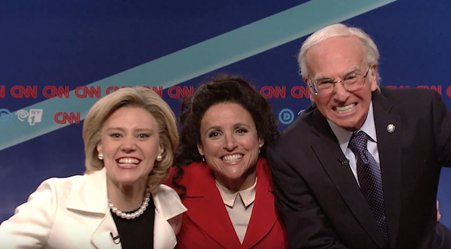 Elaine Benes meets Bernie Sanders as Julia Louis-Dreyfus hosts SNL with special guest Larry David