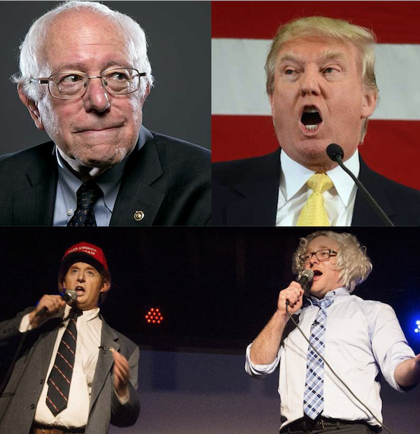 When politics imitates parody: The flattering notion of Trump vs. Bernie, but for real in California