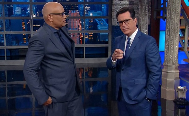 The Late Show with Larry Wilmore as Stephen Colbert cedes cold open to his former Comedy Central colleague