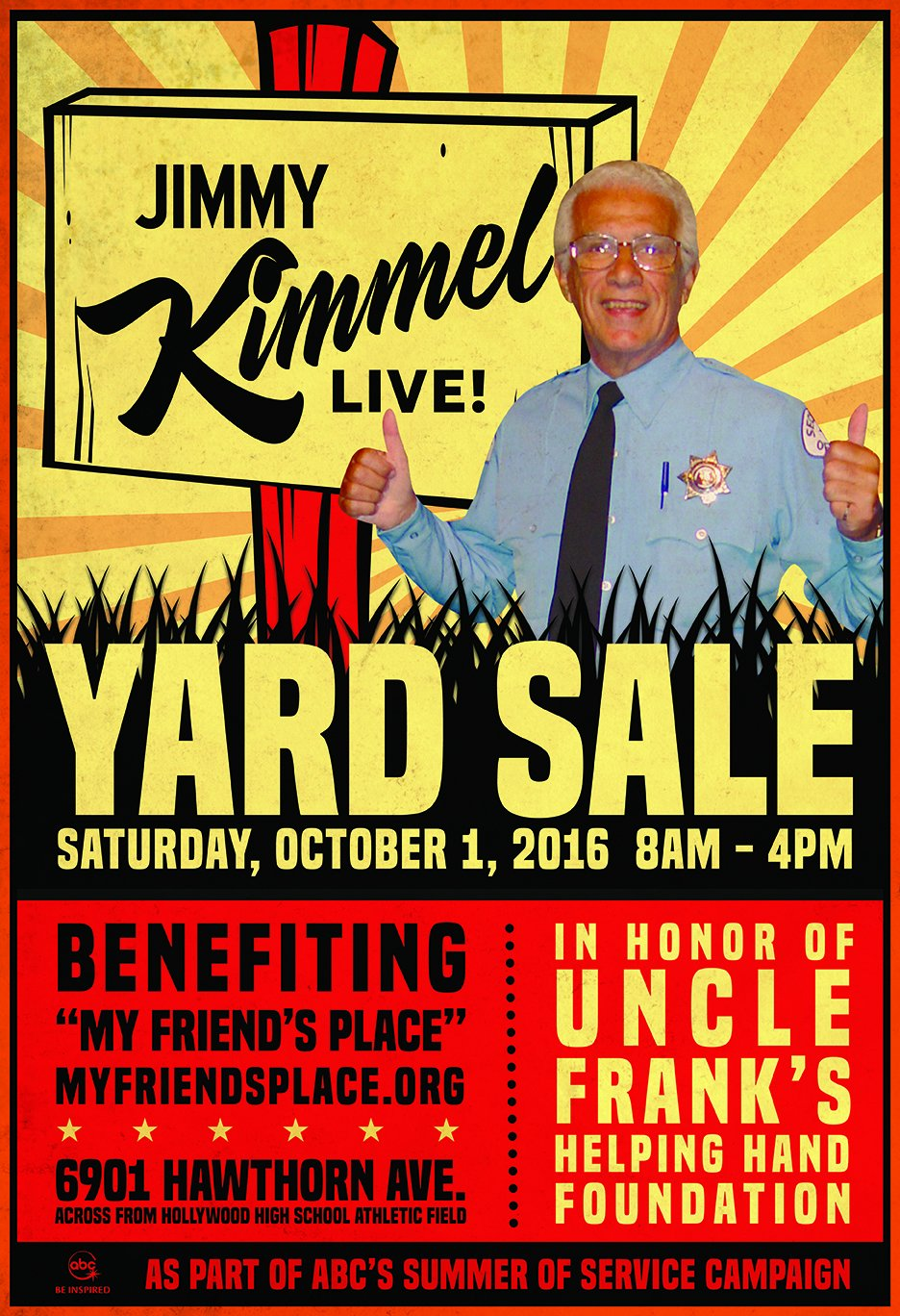 Jimmy Kimmel Live holding a yard sale of TV studio materials to benefit homeless youth