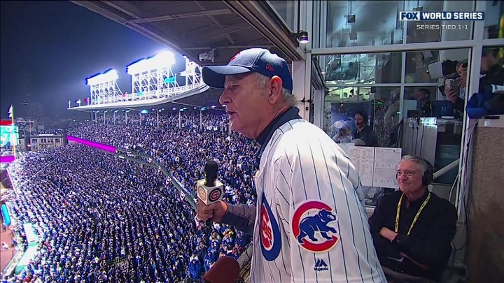"""Bill Murray and Vince Vaughn lead Cubs fans in """"Take Me Out to the Ballgame"""" for 2016 World Series"""