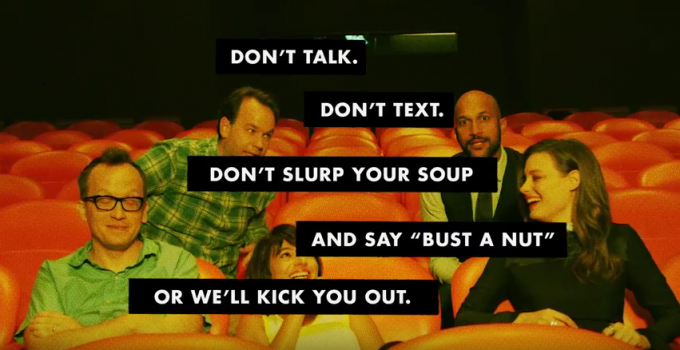 "Alamo Drafthouse celebrates grand opening of Brooklyn cinema with new comedian ""Don't Text/Don't Talk"" PSAs"