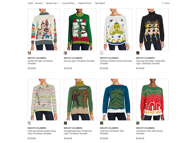 The Whoopi Goldberg ugly Christmas sweater collection