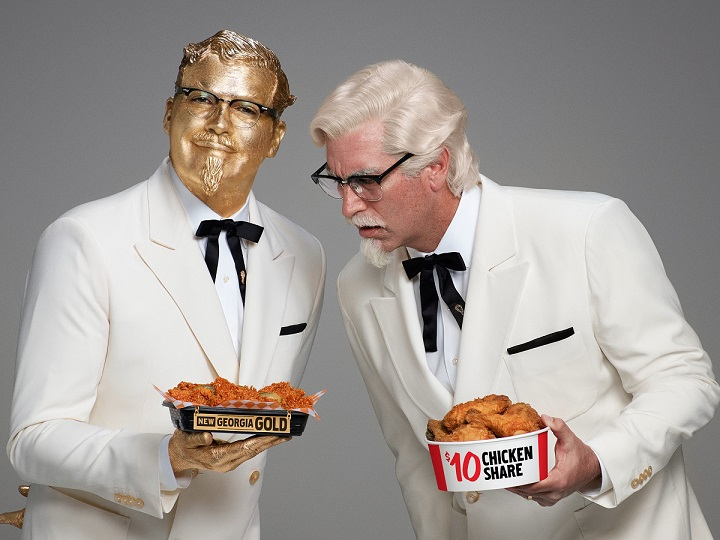 Billy Zane goes Georgia Gold(finger) for KFC in Super Bowl ad battle with Rob Riggle