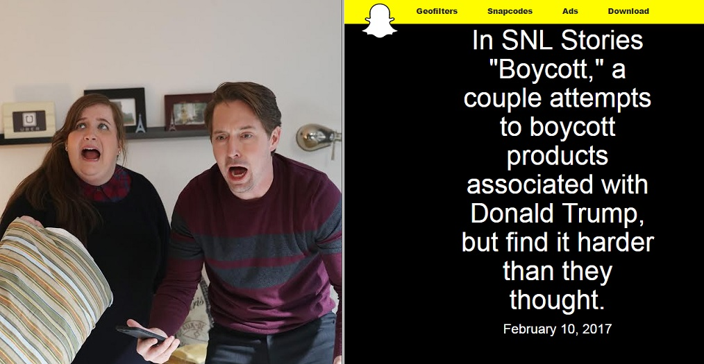 "Saturday Night Live debuts first-ever Snapchat sketch, er, Story: ""Boycott"""