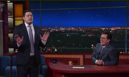 Anthony Atamanuik shows off his Trump impersonation for Stephen Colbert on The Late Show
