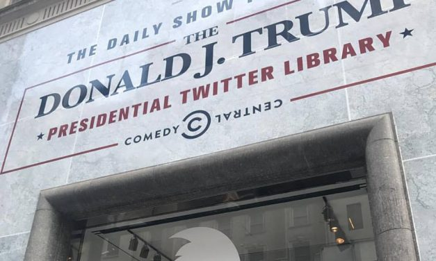 The Daily Show opening The Donald J. Trump Presidential Twitter Library in NYC across from Trump Tower