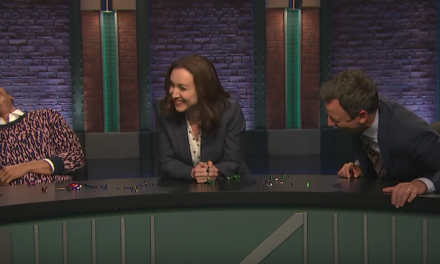 Point, Counterpoint, break into laughter on Late Night with Seth Meyers