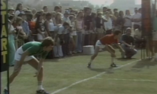 "Watch Billy Crystal race David Letterman in a classic ""Battle of the Network Stars"" obstacle course"