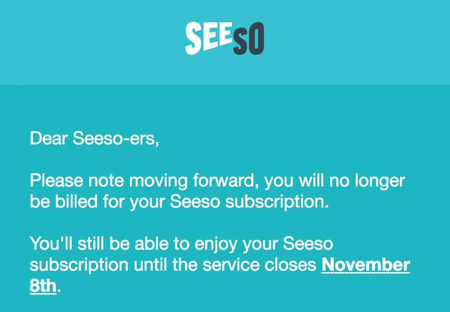 Seeso will shut down Nov. 8, 2017