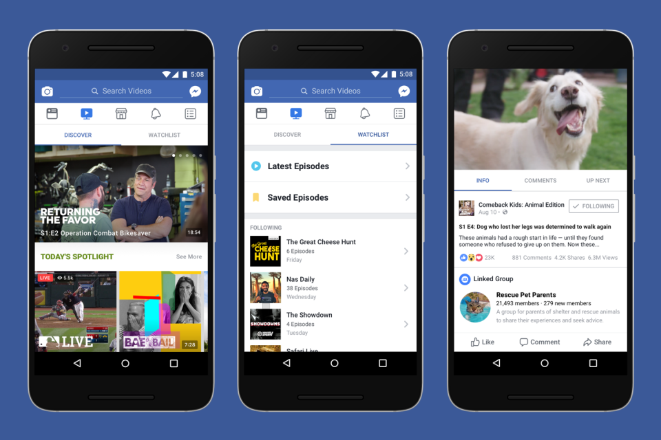 Facebook Watch begins rolling out original programming and viral videos
